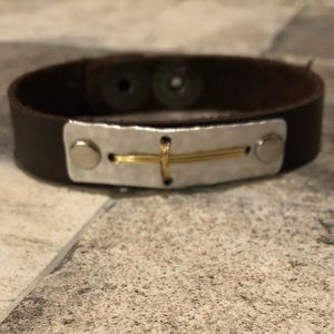 Leather Bracelet with Cross Detail.